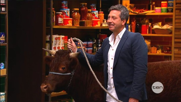 Guest Judge John Torode with Wayne the Steer