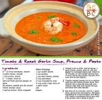 Tomato and Roast Garlic Soup, Prawns and Pesto (Adrian Richardson)